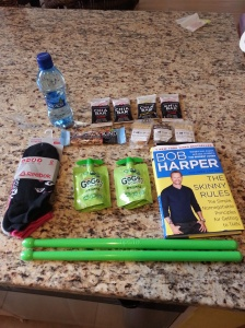 My haul from the event. Everything was free except Bob's book. I also got a free yoga mat.